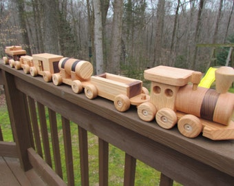 SALE 20 Off Wooden Train set 6 car Handmade toy Large oak and walnut Heirloom Quality  Beautifully hand finished personalize up to 8 letters