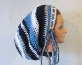 Large Crochet Tam Sock Hat for Long Dreads Dreadlocks Shades of Blue with White and Gray