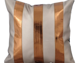 Decorative Throw Pillow Covers Accent Pillow Couch Sofa Toss Pillow Case 16x16 Metallic Bronze Faux Leather Pillow Alternating Bronzer