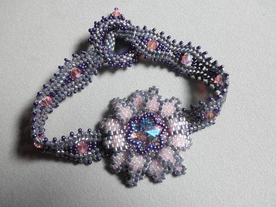 SALE Swarovski beaded flower bracelet by Galeandra