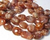 Chatoyant Oregon Sunstone Nugget Beads,  Large Plump Fat Sunstone Beads,  Natural 16 Inches