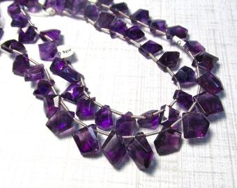 Dark Amethyst Briolette Beads Natural Gemstone,  10mm 12mm 9 Inches