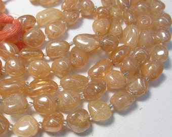 Something New Mystic Imperial Topaz Nugget Small Medium Size Apricot Golden Natural Quartz Gemstone Beads