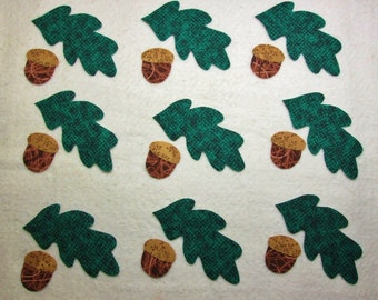 Set of 9 Iron-on Oak Leaves w/Acorns Cotton Fabric Appliques for Quilts Apparel Etc.