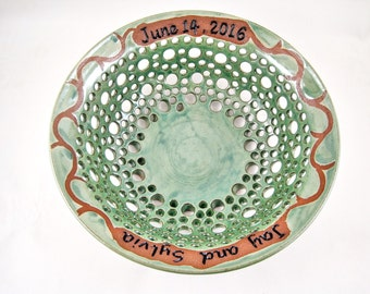 Personalized Wedding Gift - fruit bowl- Anniversary, Commitment Ceremony -2 names and date ONLY