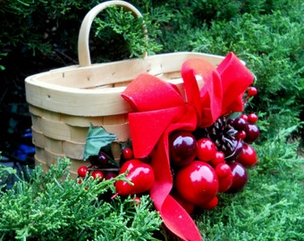 Christmas Hanging Basket for Front Door- Christmas Card Holder- Wood Basket Centerpiece Fruit Greenery Pinecone Red Ribbon Bow