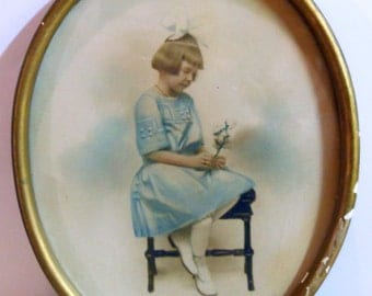 Antique Victorian Tinted Photograph, Sweet Little Girl Sepia Framed Photo, Childs 1890s-1900s Picture, White Bow, Blue Dress, Pink Roses,