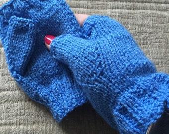 Hand knitted fingerless gloves, Handwarmer mitts, blue fingerless gloves, knitted mittens, handknit mitts, blue yarn mittens, vegan yarn