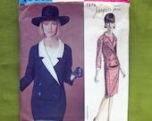 Vintage Vogue Paris Original Dress Pattern / Jacques Heim / Vogue 1376 / Faux Suit Coat Dress / Size 14 Bust 34