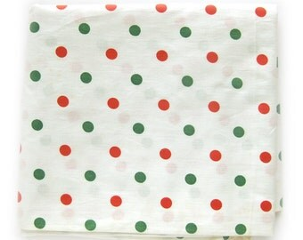 Vintage Polka Dots Cotton Fabric Green and Red Dots on White - Lightweight Cotton Yardage - 1 1/3 yards