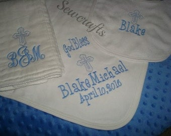 Blake Personalized Baptism Blanket Bib and Burp Cloth Christening Blanket Bib and Burp Set-Choice of Name and/or upto 3 Initials