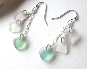 Triple Drop Cascade Sea Glass Earrings with Sea Foam Green, Clear White, and Rare Purple Sea Glass on Sterling Silver
