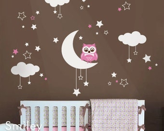 Owl Wall Decal, Owl Clouds Moon and Stars Wall Decal, Owl Wall Decal for Nursery Baby Room, Owl Clouds Stars and Moon Wall Sticker