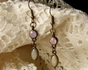 Simple Subtle & Chic Opalescent Pink Gemstone Drop Dangly Earrings