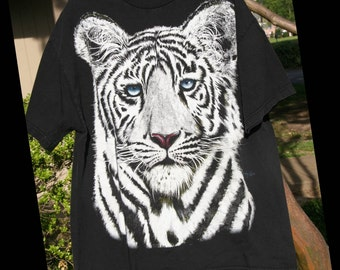 SIBERIAN STARE: Vintage Bobby G's T-Shirt, White Bengal Tiger Face with Blue Eyes Close-Up, Gold Shimmer, Jet Black, Adult Extra Large / XL