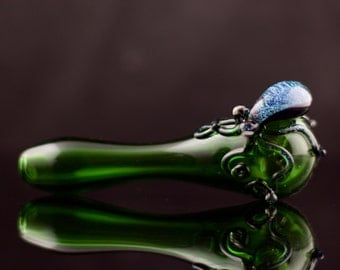 Octopus Glass Spoon Pipe Hand Blown Thick Wall in Emerald Green & Diamond Tical, Ready to Ship #428