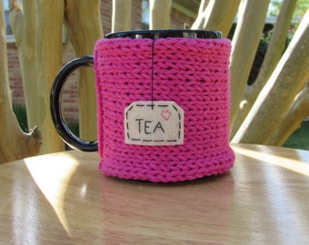 Knitted tea mug cozy tea cup cozy in hot pink