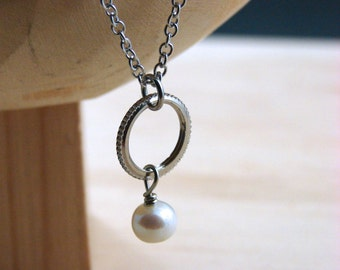 Pearl Pendant Necklace Recycled Hardware Jewelry