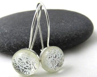 Silver Frost Earrings - Sterling Silver Set Kidney Earwire Earrings - Ready to Ship