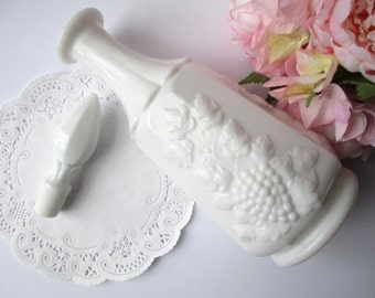 Vintage Westmoreland Milk Glass Paneled Grape Decanter and Stopper