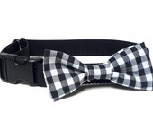 Black plaid bowtie for dogs, dog collar bowtie, collar bow, fabric bowtie, , fabric bow