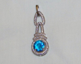 Swiss Blue Topaz And Silver  Pendant