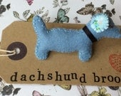 Hand Stitched Blue Felt Dachshund, Sausage Dog, Daschle Brooch