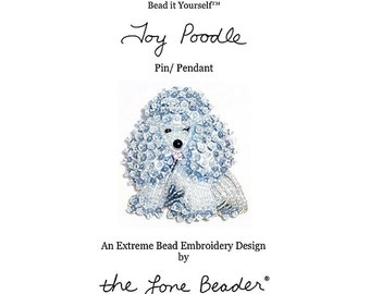 PDF file: TOY POODLE Dog Pin Bead Embroidery Beaded Animal Beading Pattern (For Personal Use Only) Free Ship