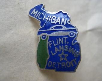 Michigan Lapel Pin Blue Silver Tie Tack Vintage Brooch Enamel State