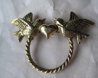 Love Birds Heart Gold Brooch Pin Vintage Ring