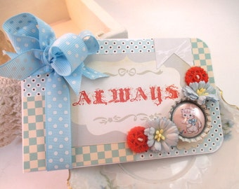 Cottage chic card-ALWAYS-baby shower- kitten kitty greeting card