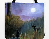 Tote Bag Artbylucie Totes Landscape 464 black cat squirrel deer moon All over print from art painting L.Dumas