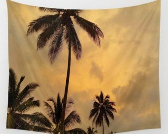 Wall Tapestry Wall Hanging Sofa Throw Ocean Sea beach Photo 11 Palm Trees Sunset Home Decor by L.Dumas
