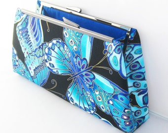 SALE - Ready to Ship - Modern Clutch - Black Blue Butterfly with Gold Metallic Accents