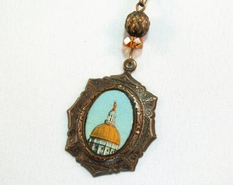 Georgia state capitol Atlanta vintage postcard natural brass pendant necklace by CURRICULUM