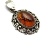 Sterling Amber Pendant Vintage Jewelry C7238