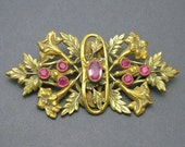 Antique Sash Brooch Large Brass Trumpet Lily Floral Jewelry