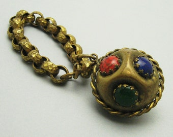 Deco Charm Bracelet Huge Ball Charm Brass Vintage Jewelry B6978