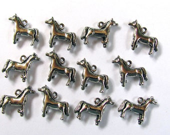 12 Silver Horse Charms 15X18mm