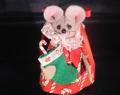 Christmas Mouse with her Christmas Stocking