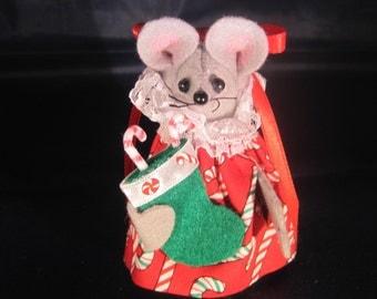 Christmas Mouse with her Christmas Stocking
