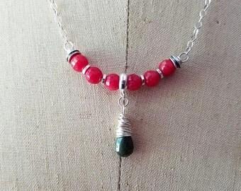 Cherry Quartz Necklace, Dark Pink, Olive Green Cat's Eye Quartz Briolette, Sterling Silver