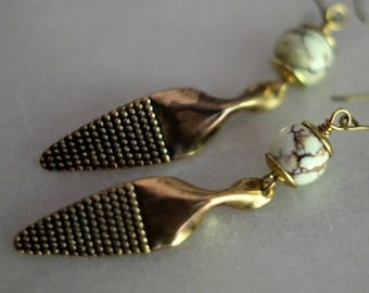 Tribal Brass Earrings, Pale Green Jasper Gemstone Dangles, Boho, Antiqued Hammered African Brass, Chocolate Chip Mint