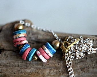 50% Off Pastel Necklace, Ceramic Beads, Pink, Gold, Blue, Speckled, White Enameled Metallic Chain