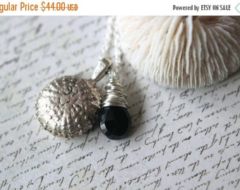 October Sale Sea Urchin Pendant  Sterling Silver Wire Wrapped  Faceted Black Spinel Briolette  Hand Cast Pewter  Beach, Ocean, Sea  Gift Box