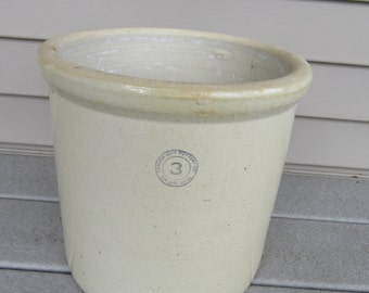 3 Gallon Stoneware Crock- great condition, solid and weighty- Garden City Pottery Co. San Jose, California