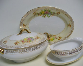 Miniature Porcelain Tureen and Sauce Boat