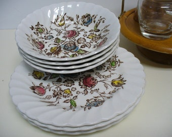 8 Piece Johnson Brothers Staffordshire Bouquet - Berry Bowls and Plates