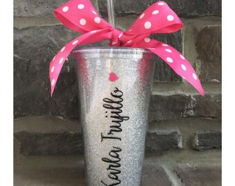 Personalized Vertical Name Tumber Cup With Heart - 16oz