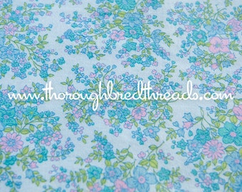 Mod Floral- Vintage Fabric 60s New Old Stock Flannel Pink Turquoise Lime Green